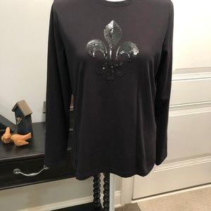 Talbots Black Long Sleeve Tshirt w/design